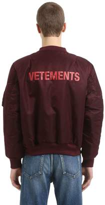 Vetements Reversible Cropped Nylon Bomber Jacket