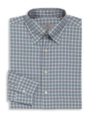Canali Slate Check Cotton Long Sleeve Shirt