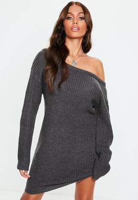 Missguided Dark Gray Off Shoulder Knit Sweater Dress