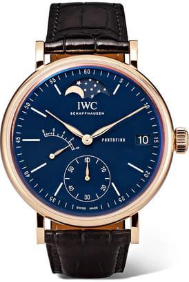 IWC SCHAFFHAUSEN - Portofino Hand-wound Moon Phase 45mm 18-karat Red Gold And Alligator Watch - Rose gold