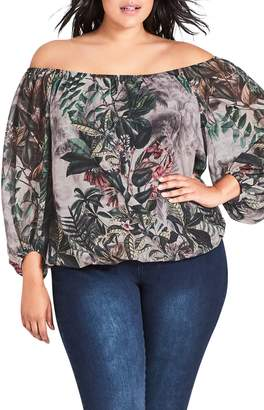 City Chic Sacred Jungle Off the Shoulder Blouse