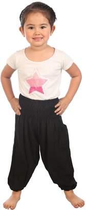Lofbaz Kids Hippie Harem Aladdin Rose Flower Child Pants Bohemian Baggy Brown Size 5-6Y