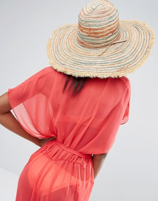 Hat Attack Stripe Fringed Beach Hat $56 thestylecure.com