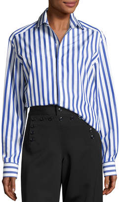 Ralph Lauren Capri Striped Cotton Blouse, White