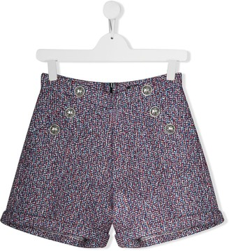Balmain Kids TEEN button-embellished metallic shorts