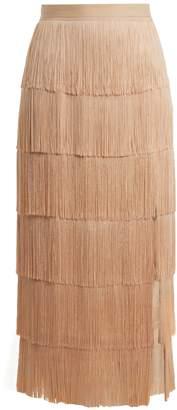 Raey Slit-front fringed silk midi skirt