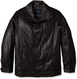 Tommy Hilfiger Men's Tall Smooth Lamb Touch Faux Leather Classic Laydown Collar James Dean Jacket