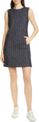 Theory Vent Front Wool & Cotton Blend Shift Dress