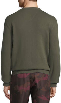 Valentino Men's Leather-Detail Cashmere Sweater