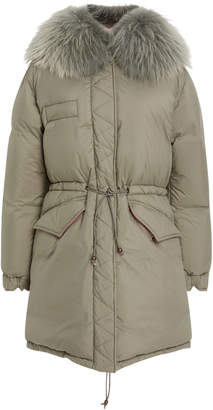 Mr & Mrs Italy Fur-Trimmed Quilted Shell Coat