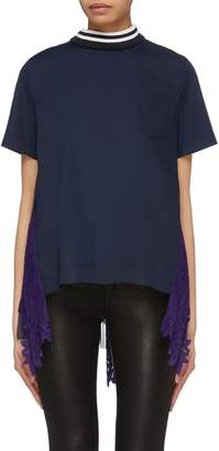 Sacai Pleated lace panel tulle back T-shirt