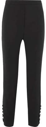 Ellery Santiago Cropped Button-detailed Crepe Slim-leg Pants - Black