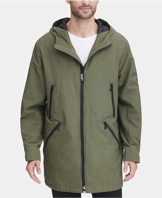 DKNY Men 3/4-Length Hooded Rain Coat