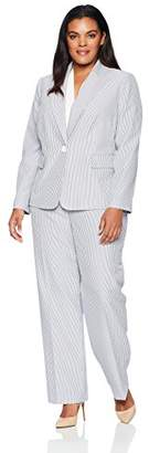 Le Suit Women's Size Plus Seersucker 1 Bttn Peak Lapel Pant