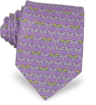 Laura Biagiotti Purple Dragonflies Print Twill Silk Tie