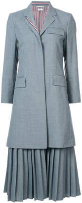 Thom Browne Pleated Bottom Chesterfield Overcoat In School Uniform Plain Weave