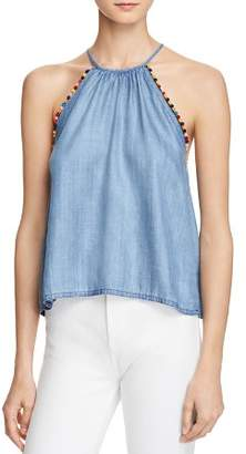 Honey Punch Pom-Pom Chambray Tank