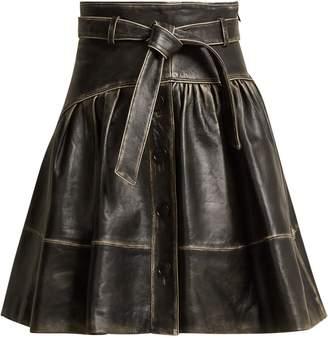 Miu Miu Distressed-leather A-line skirt