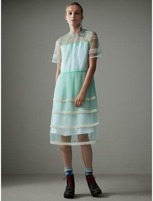 Burberry English Lace Trim Pleated Tulle Dress