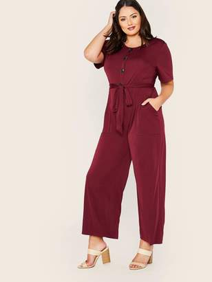 Shein Plus Half Button Front Patch Pocket Belted Palazzo Jumpsuit