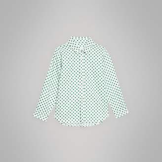 Burberry Polka Dot Cotton Oxford Shirt , Size: 14Y, Green