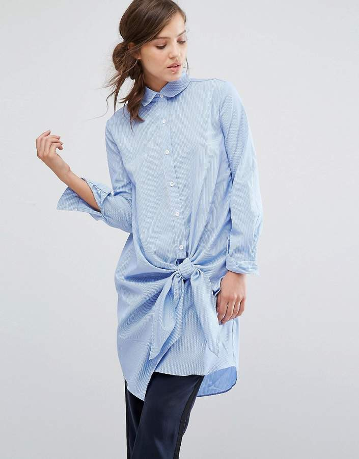 Parallel Lines Shirt Dress With Tie Front Detail In Fine Stripe