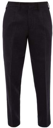 The Gigi - Pleated Houndstooth Check Trousers - Mens - Navy Multi