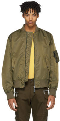 Yves Salomon Green Fur-Lined Bomber Jacket