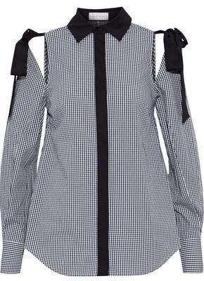 Rebecca Vallance Cold-Shoulder Gingham Cotton-Poplin Shirt