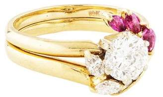 Ring 14K Diamond & Ruby Wedding Set