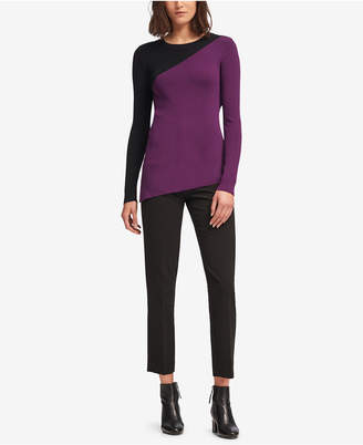 DKNY Asymmetrical Colorblocked Sweater