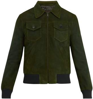Prada Point-collar suede bomber jacket