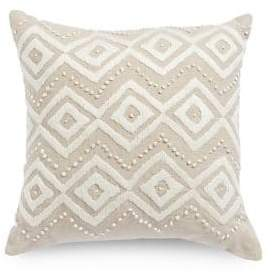 Lucky Brand Diamond Hand Embroidered Square Decorative Pillow
