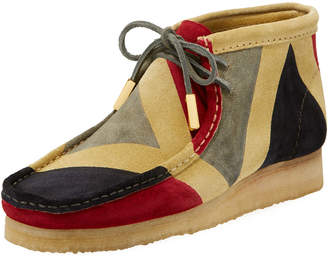 Sycamore Style Men's Geometric Suede Wallabee/Moc Chukka Boot, Red/Gray/Black