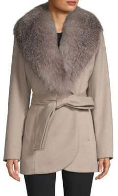 Sofia Cashmere Women's Fox Fur-Trim Wool& Cashmere Coat - Putty - Size 8