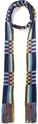 Missoni Fringed Crochet-knit Scarf - Blue