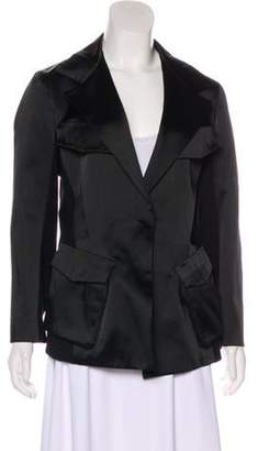 Donna Karan Peak-Lapel Long Sleeve Blazer Black Peak-Lapel Long Sleeve Blazer