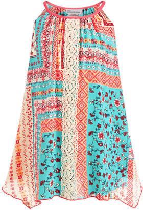 Bonnie Jean Little Girls Mixed-Print Lace-Front Dress