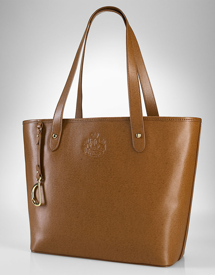 LAUREN RALPH LAUREN Newbury Tan Leather Tote Bag