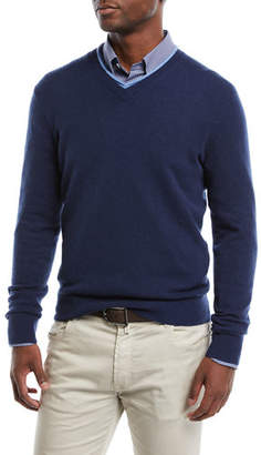 Neiman Marcus Men's Cashmere Contrast-Trim Sweater