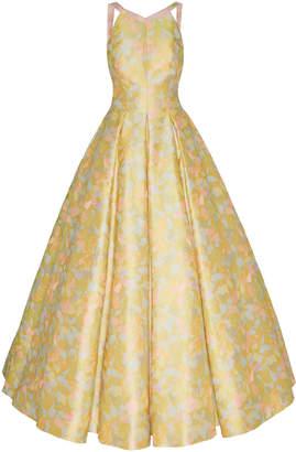 Zac Posen Floral Jacquard Halter Ball Gown