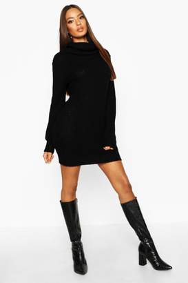 boohoo Oversized Soft Knit Cowl Neck Sweater Dress