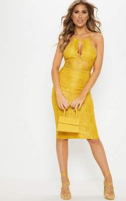 PrettyLittleThing Mustard Lace Cut Out Front Cross Back Midi Dress