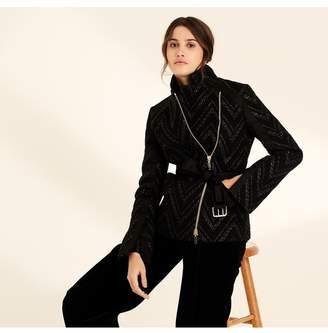 Amanda Wakeley Black Raffia Stripe Belted Jacket