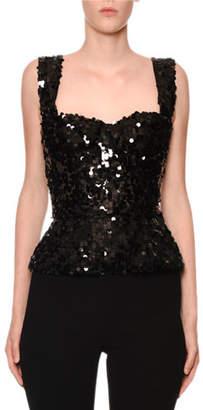Dolce & Gabbana Sleeveless Allover Paillette Bustier Top