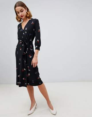 Warehouse floral print wrap dress in black