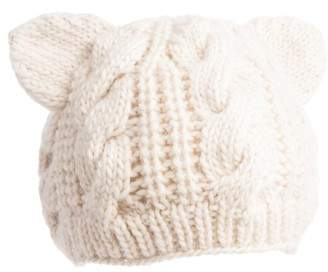 Women's Nirvanna Designs Cable Knit Kitty Beanie - Grey