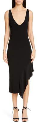 Cushnie Asymmetrical Ruffle Hem Midi Dress