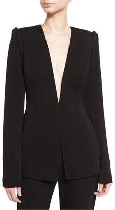 Brandon Maxwell Piped-Shoulder V-Neck Jacket $1,995 thestylecure.com