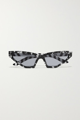 Prada Cat-eye Marbled Acetate Sunglasses - Black